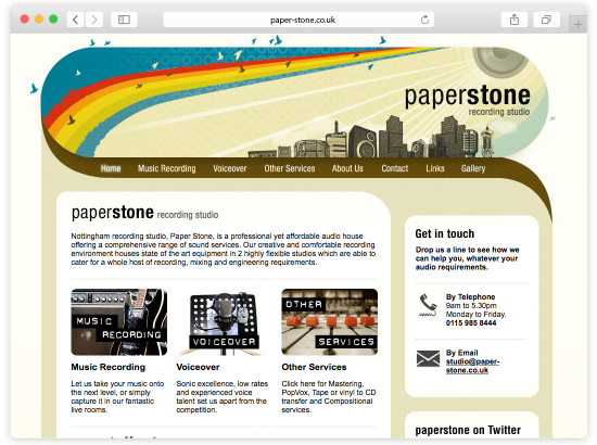 Paper Stone Music and Sound Recording Nottingham Website Design