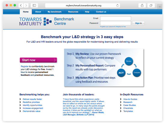 Towards Maturity Benchmark Centre Website