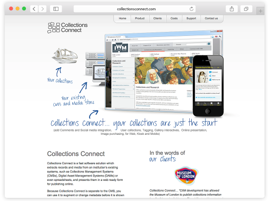 Collections Connect Website and Content Management System