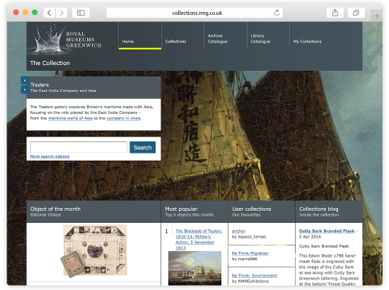 Royal Museums Greenwich Collections Online Website and Touch Screen Pods