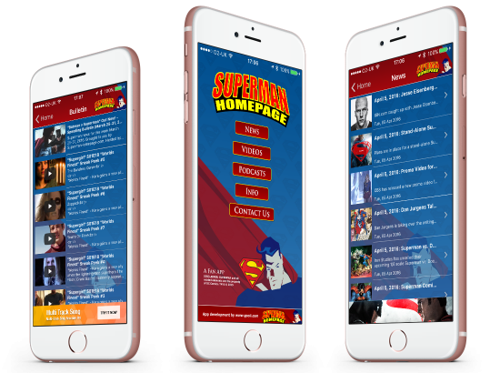 Superman Homepage iPhone, Android, Blackberry and Amazon Kindle App