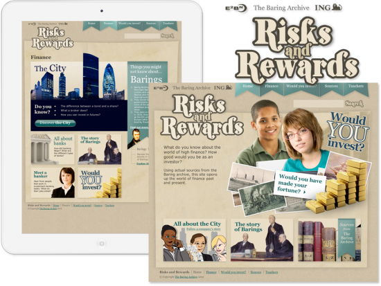 The Baring Archive 'IGN Risks and Rewards' Website and iPad Homepage