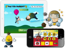 The Fab-Phonics 'Up, Up and Away', 'Where's Whatsit' and 'Space Blasters' Apps for iPhone and iPad