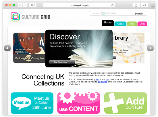 Collections Trust - Culture Grid Website and Search Interface Homepage