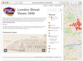 Museum of London 'London Street Views 1840' Website Design and Programming